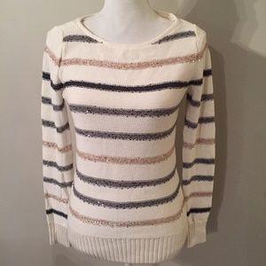 White House Black Market Sequin Stripe Sweater